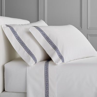 Classic Greek Key Bedding, Sheets Set, Cal King, Navy #BedSheets