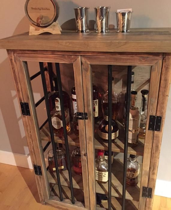 Liquor Cabinet Rustic Iron and Wood with Natural ...
