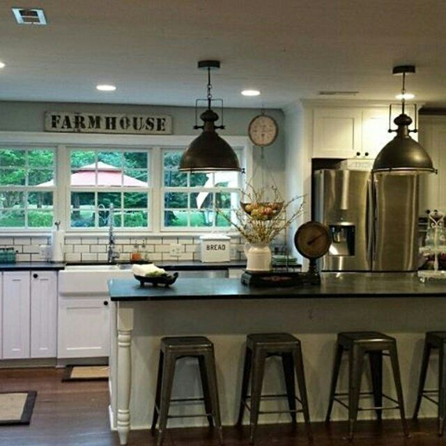 Farmhouse Kitchen  Love The Blue Wall With Subway Tile