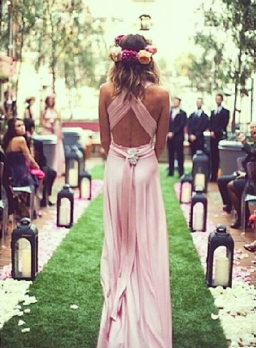 Gorgeous wrapstyle bridesmaid dress and the flower headband