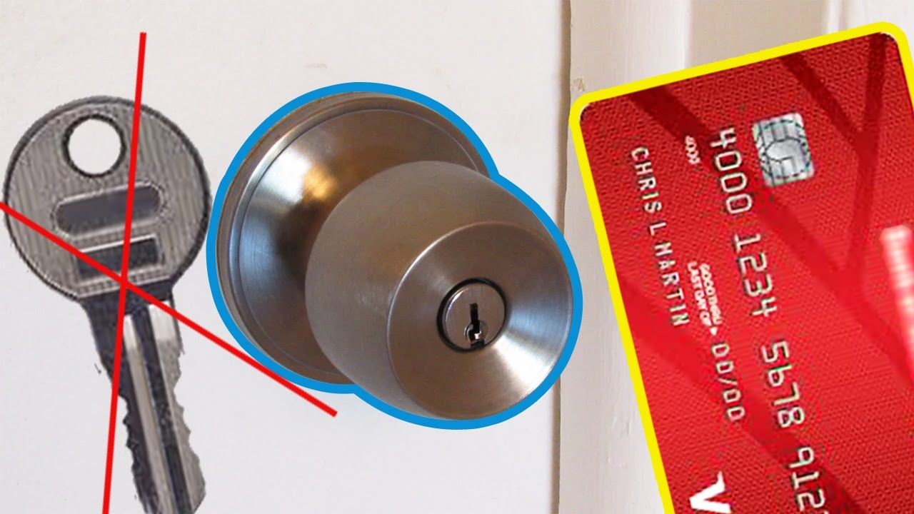 Life Hack How To Open The Lock Using Plastic Card Plastic Card Doors Cards