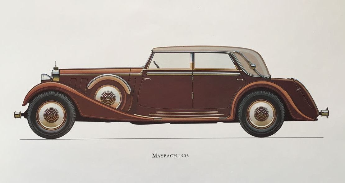 MAYBACH 1936 – classic car print – original vintage lithograph printed in the 1960's – collectable automobile – antique restored autos