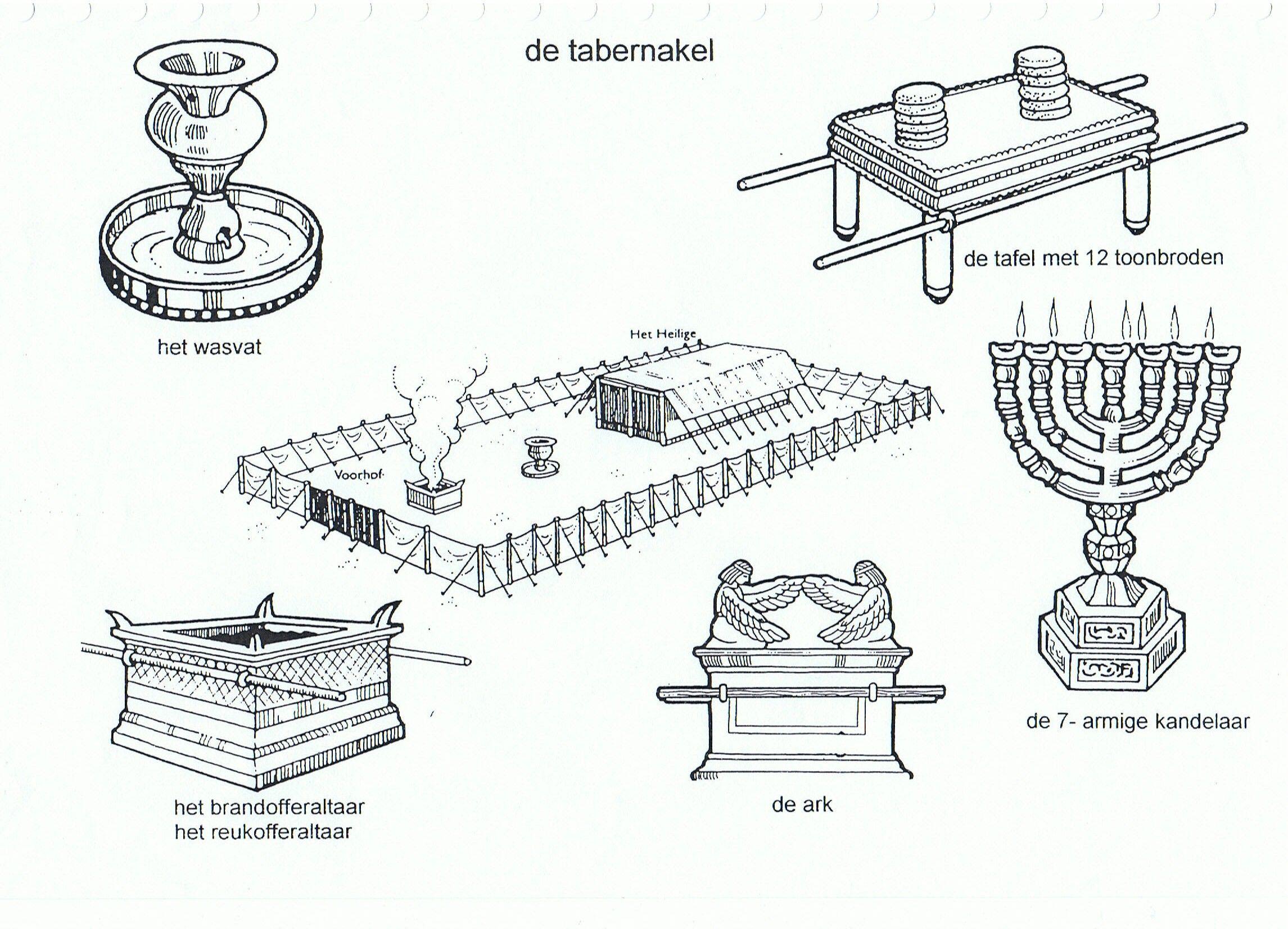 Wat staat er in de tabernakel   Bijbelse kleurplaten   Pinterest ...