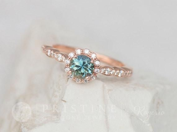 Blue Green Sapphire Peacock Sapphire Rose Gold Engagement Ring