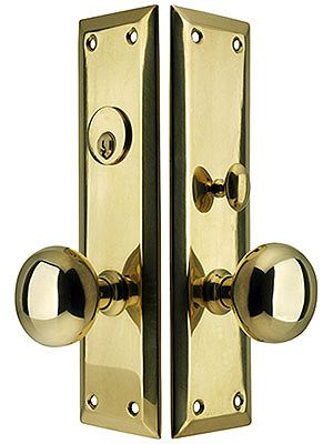 New York Large Plate Mortise Entry Set In Forged Brass Door Sets