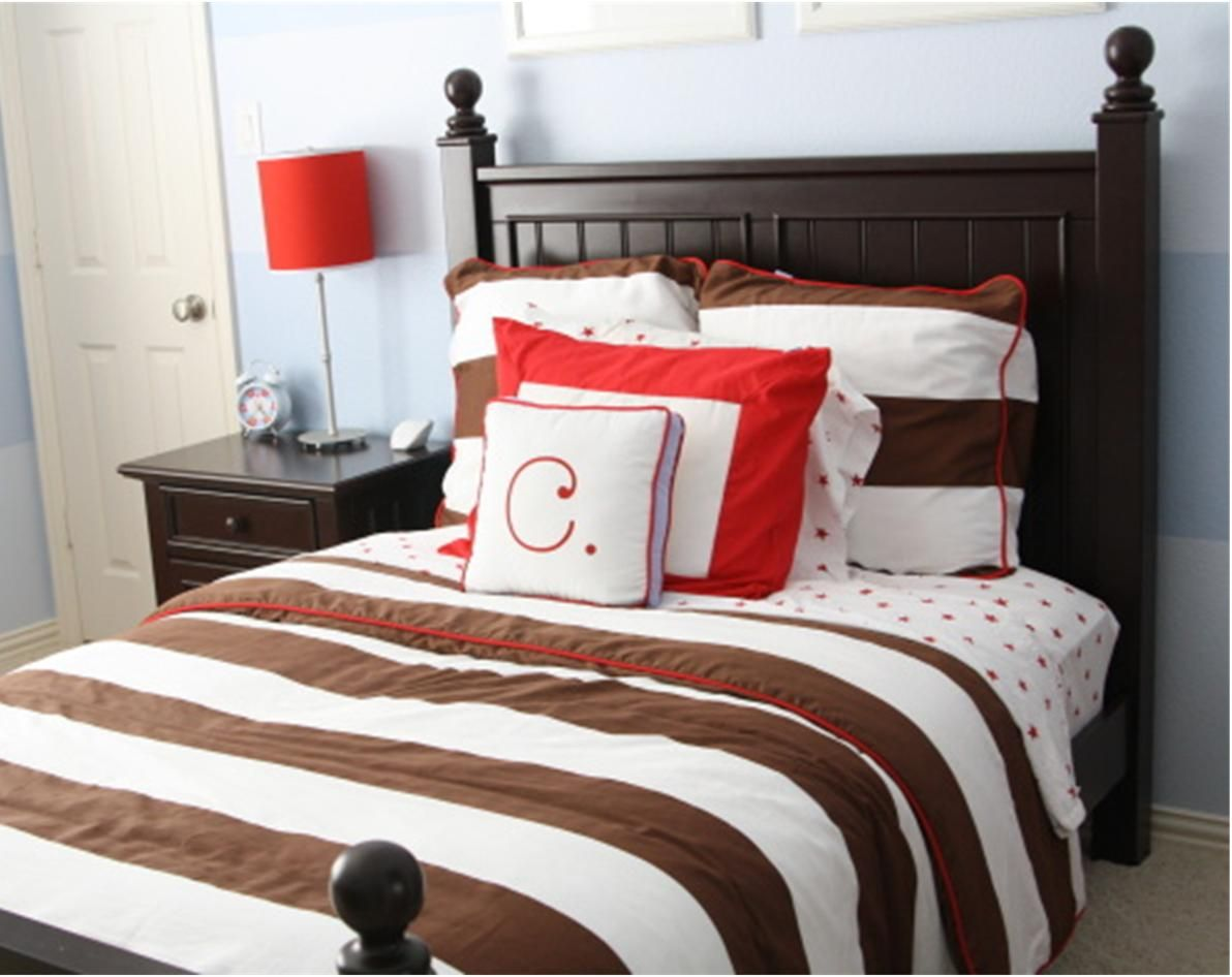 Red and brown boys room   Room, Room design, Boy room