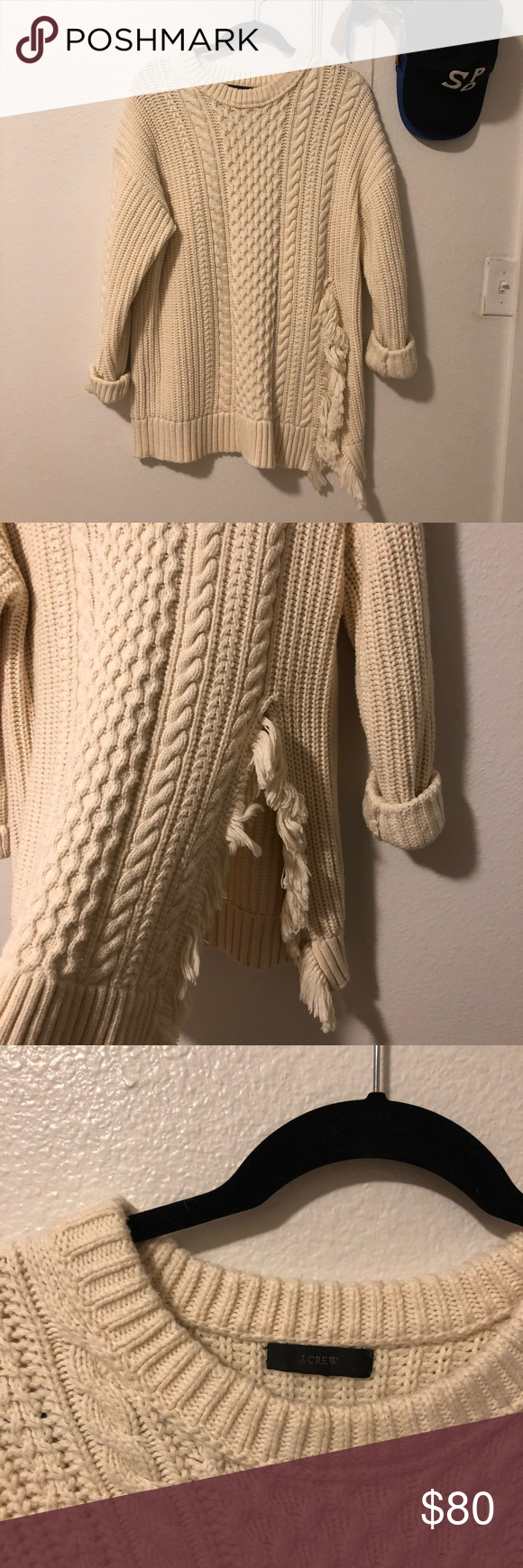 72ee23a6f25ab0 J.Crew Cable Knit Sweater with Fringe Slightly oversized cable knit with  fringe split on