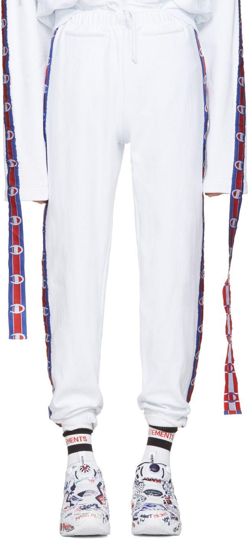 688d0d128 VETEMENTS White Champion Edition Tape Track Pants. #vetements #cloth #pants