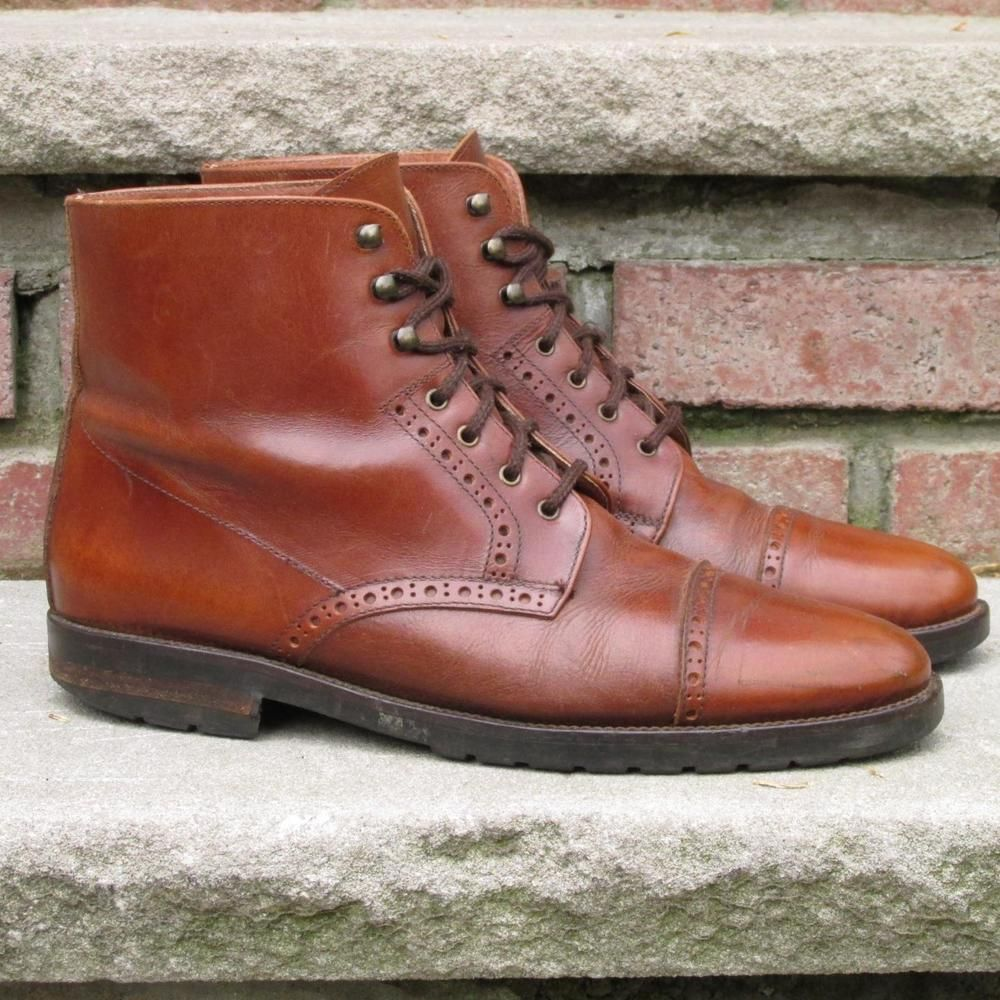 6c9eab7b71e Made in Italy VIntage Brass Boot Lace up Cap Toe Ankle Boots Eur ...