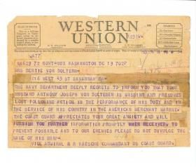 Courtesy Dorothy Von Dolteren Wise The Telegram Informing Bertie Von