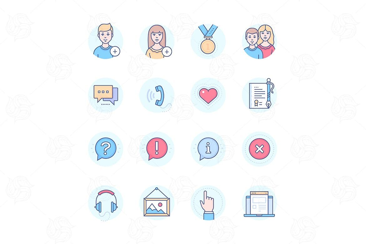Social media modern line design style icons set by