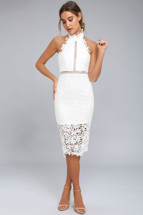 c4ef560850 You re fated to look fabulous in the Divine Destiny White Lace Midi Dress!  Intricate lace overlay sweeps from a halter neckline (with hook clasps)