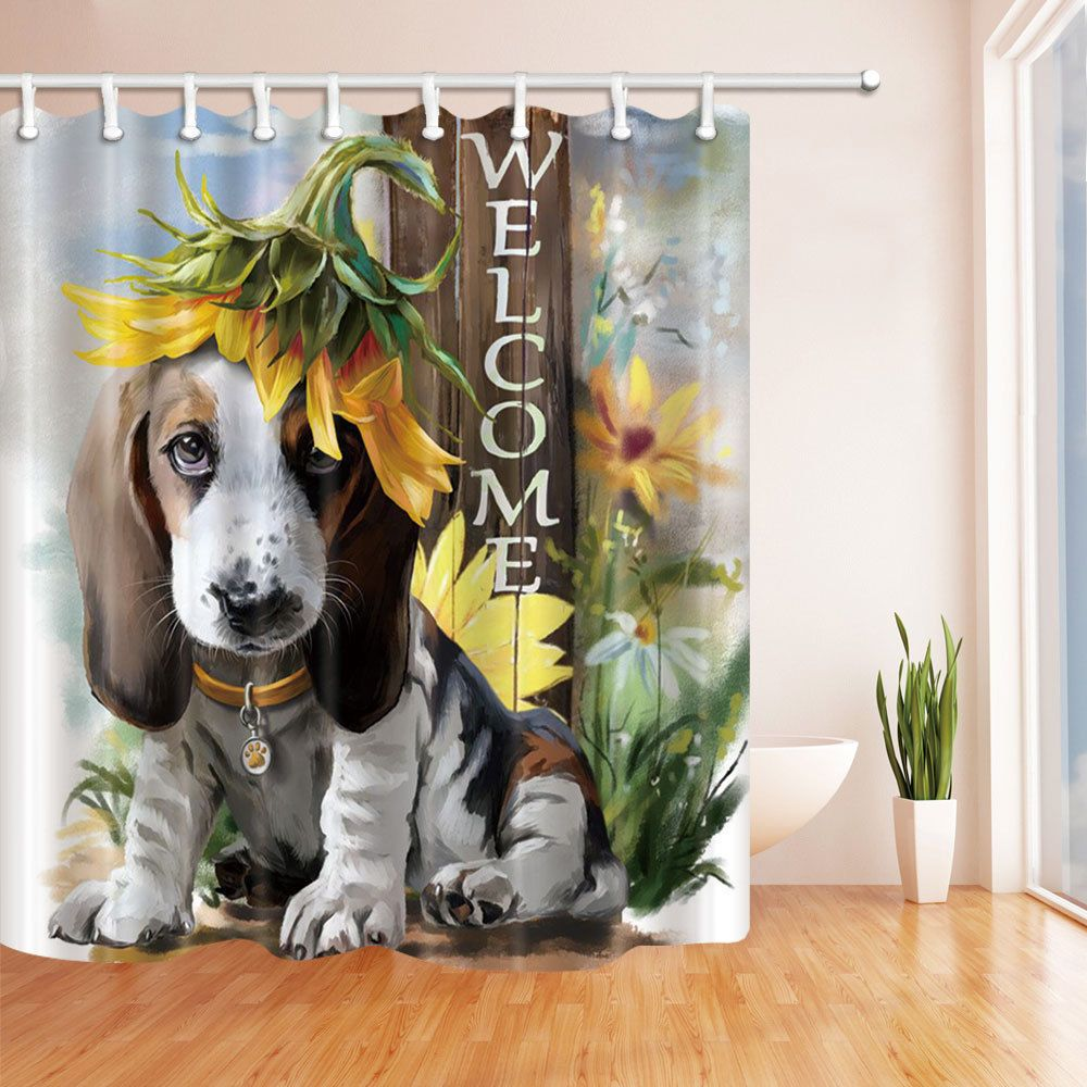 Dog French Basset Hound Bathroom Shower Curtain Set Home Fabric