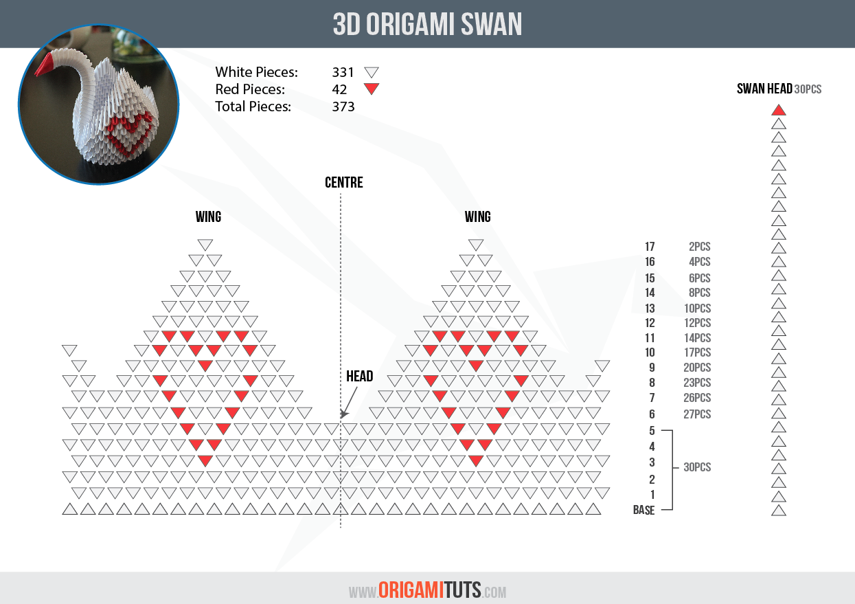 3D ORIGAMI SWAN INSTRUCTIONS | 3D Origami Elegant ... - photo#20