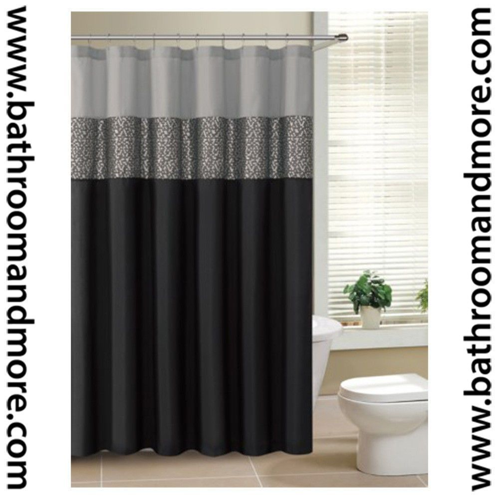 Black And Gray Fabric Shower Curtain With Metallic Silver Accent