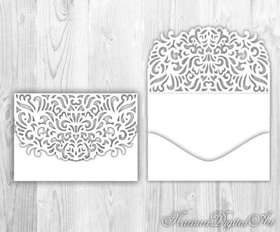 Lace Fold Pocket Envelope. 5X7 Laser Cut Template. Silhouette