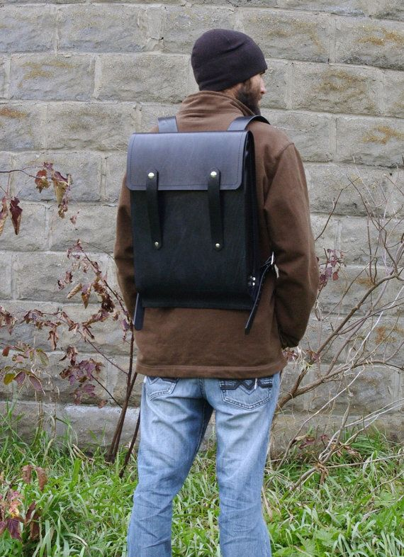 Black Large Leather Rucksack - CLEARANCE | Large, By and On