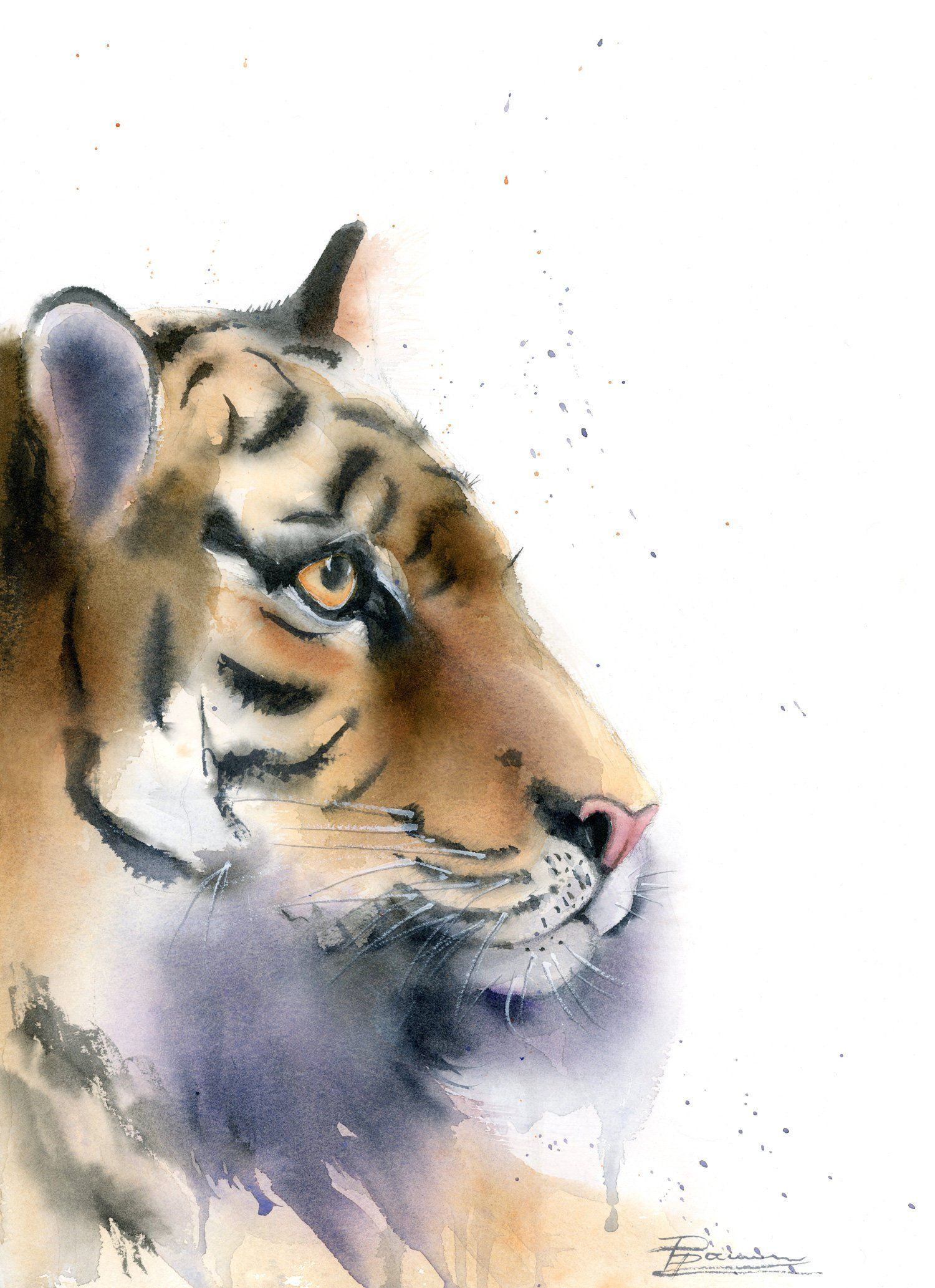 Wild Animal Painting Original Watercolor Tiger Art Jungle Big Cat