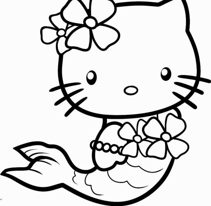 Easy Hello Kitty Mermaid Coloring Pages Hello Kitty Coloring