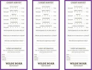 Menus  Restaurant Marketing  Restaurant Comment Cards Need Help