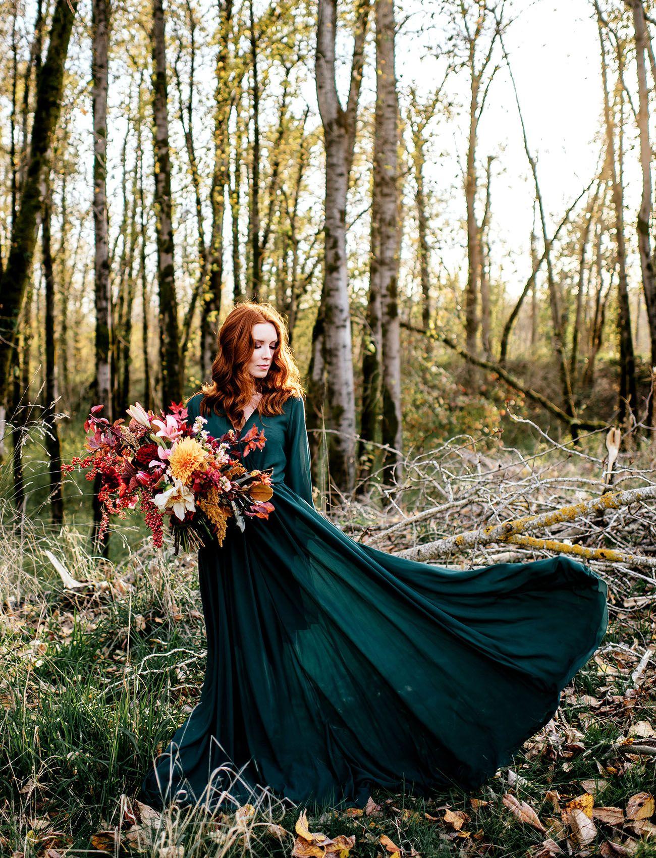 Wild Free Autumn Elopement Inspiration Green Wedding Shoes Emerald Wedding Dresses Green Wedding Dresses Non White Wedding Dresses