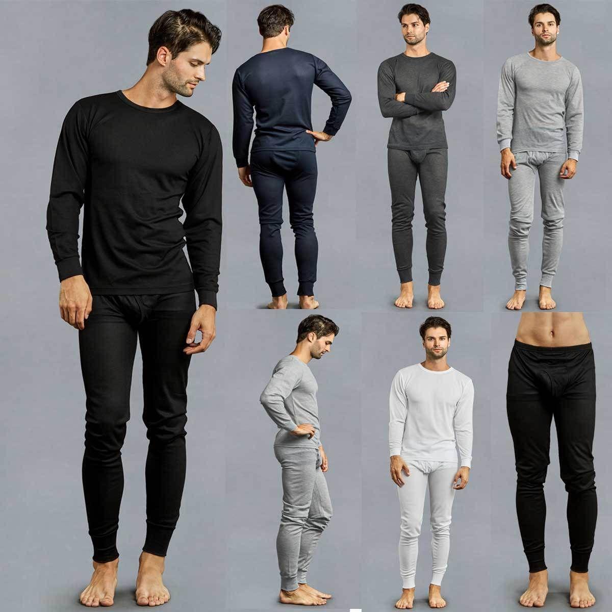 9b6fd4e41e6 Men s 2 pcs Thermal Underwear Set Long Sleeve Johns Waffle Knit Top Bottom  S~3XL