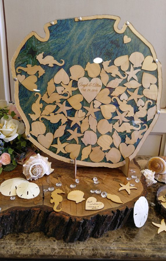 Personalized Alternative Wedding wood guest book Sand Dollar top ...