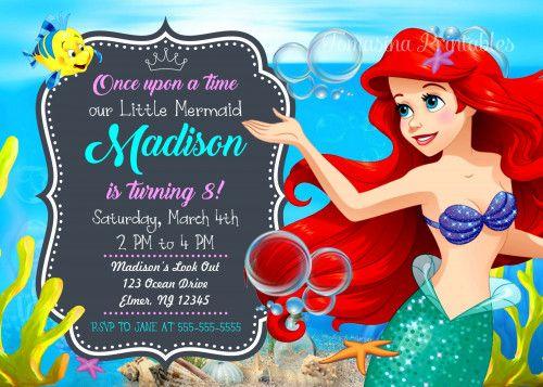 Little Mermaid Ariel Birthday Invitation Inspired Party Invite