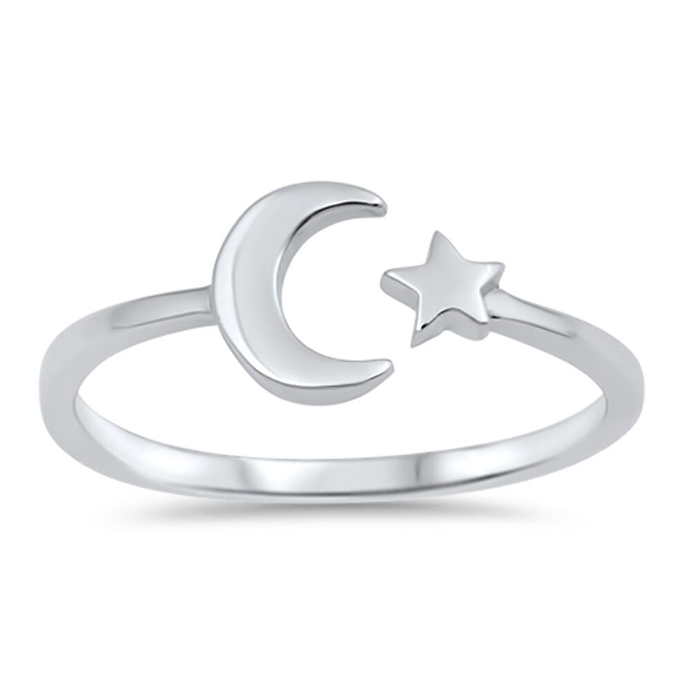 Crescent Moon Ring Genuine Sterling Silver 925 Polished Jewelry Face Height 7 mm