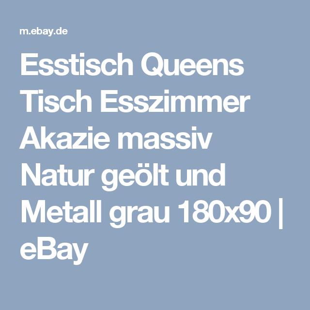 Details Zu Esstisch Queens Tisch Esszimmer Akazie Massiv Natur Geölt Und  Metall Grau 180x90