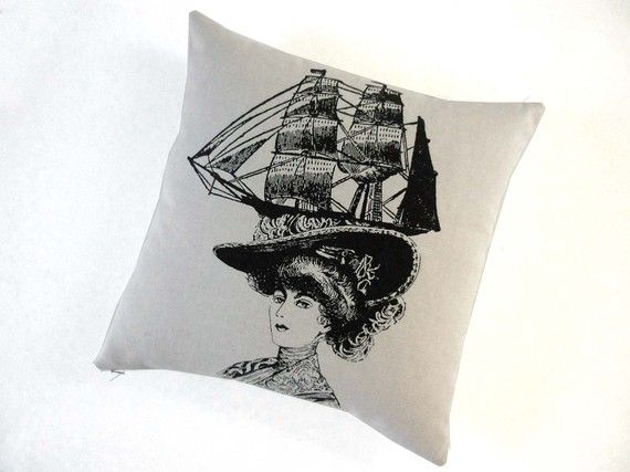 boat hat pillow by The Utilitarian Franchise on Etsy