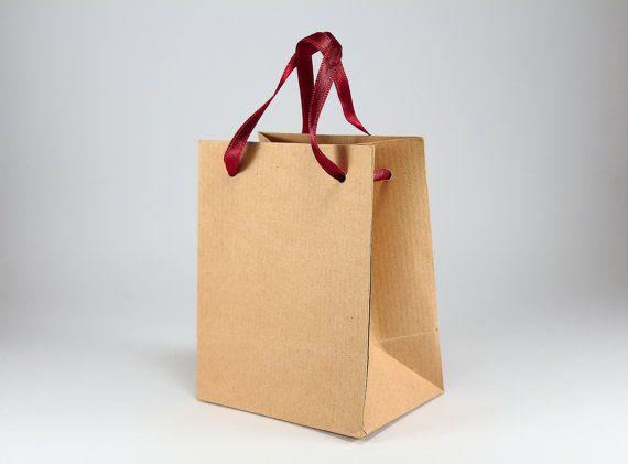 fa63622f35f3 100 Kraft Brown Paper Bags w  Handles - Extra Small Kraft Paper Bags -  Party Wedding Favors Gifts - Rustic Wedding Favor Bags