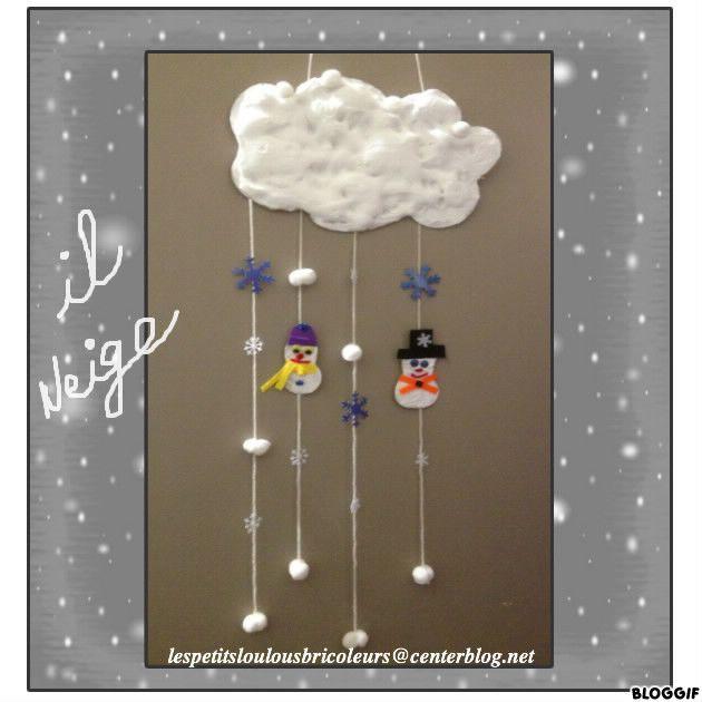 nuage neige utilisation de la mousse raser colle peinture pour le nuage laine feutrine. Black Bedroom Furniture Sets. Home Design Ideas