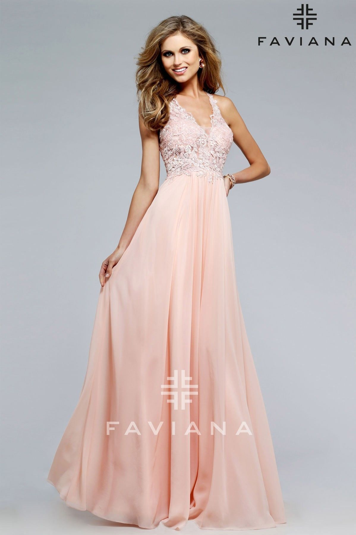 Faviana s lace vneck chiffon gown wedding dec