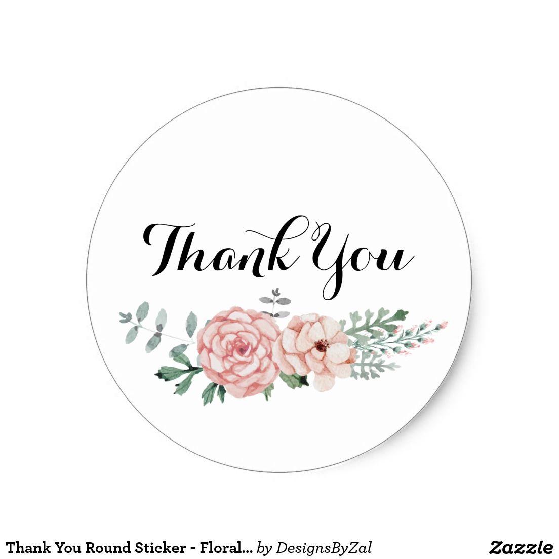 Thank you round sticker floral wreath design zazzle shop thank you round sticker floral wreath design izmirmasajfo