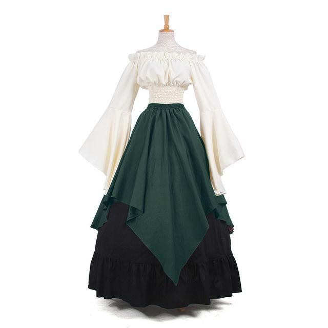 Victorian Medieval Renaissance Costume Shoulder Off Fancy Dress Ball Gown Women