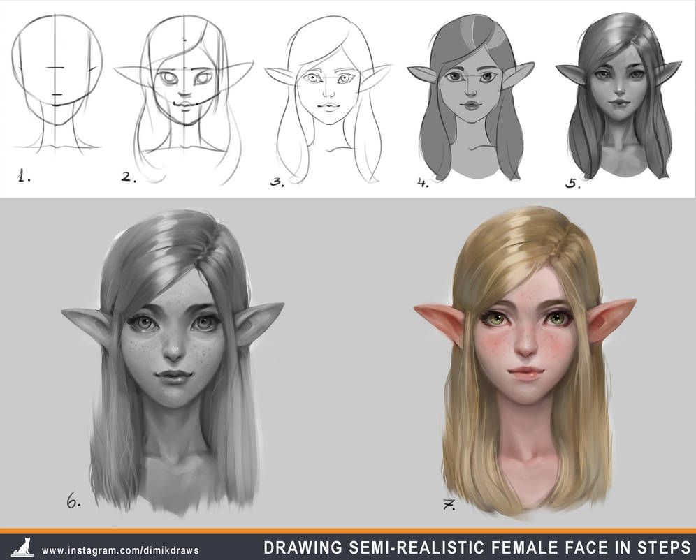 How to draw semirealistic female face in steps by Dimikka