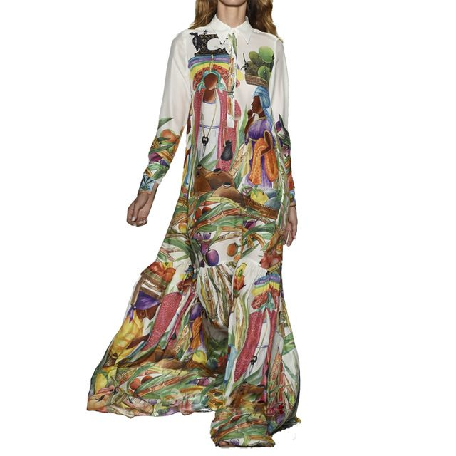 High Quality Newest Fashion Runway Maxi Dress Women S Long Sleeve Retro Art Printed Designer Plus Size L