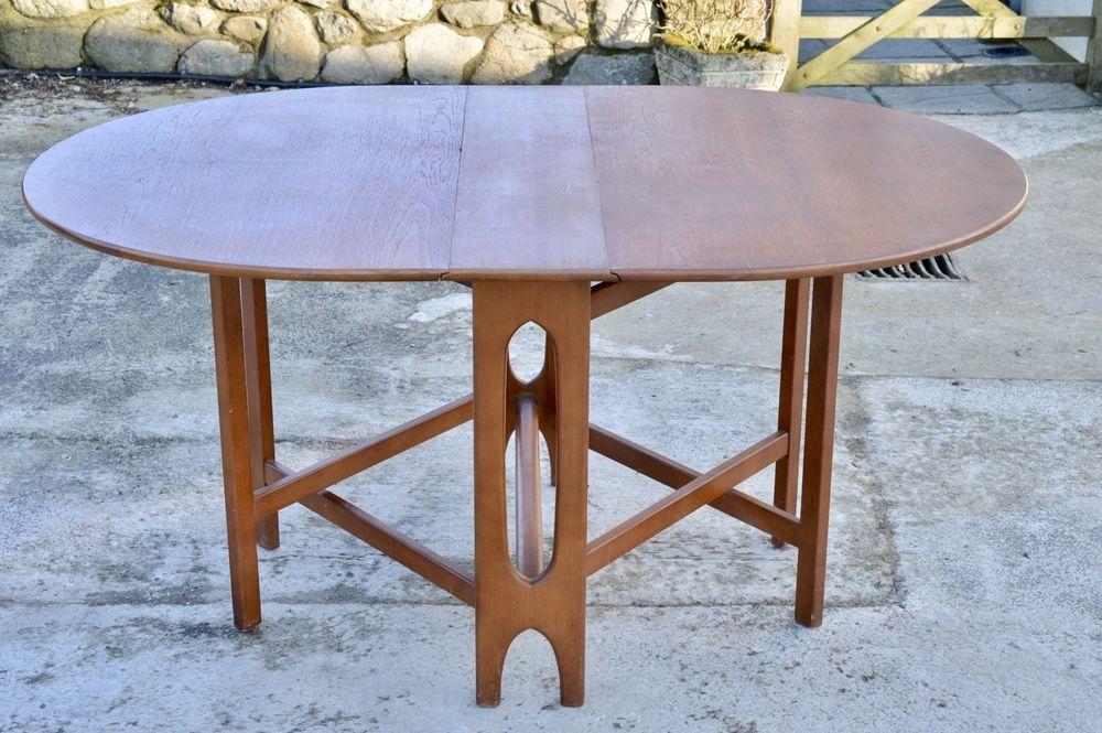 Mid Century Vintage 1960s 70s Teak Drop Leaf Folding Dining Table