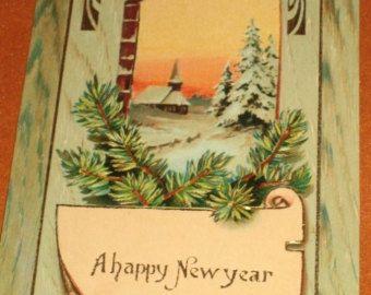 Vintage Happy New Year German Made Postcard