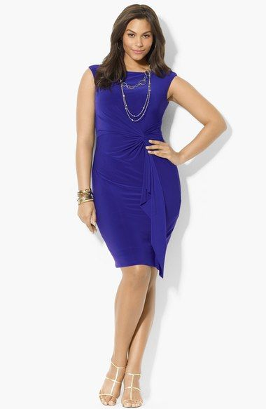 Lauren Ralph Lauren Side Twist Jersey Dress (Plus Size) available at #Nordstrom