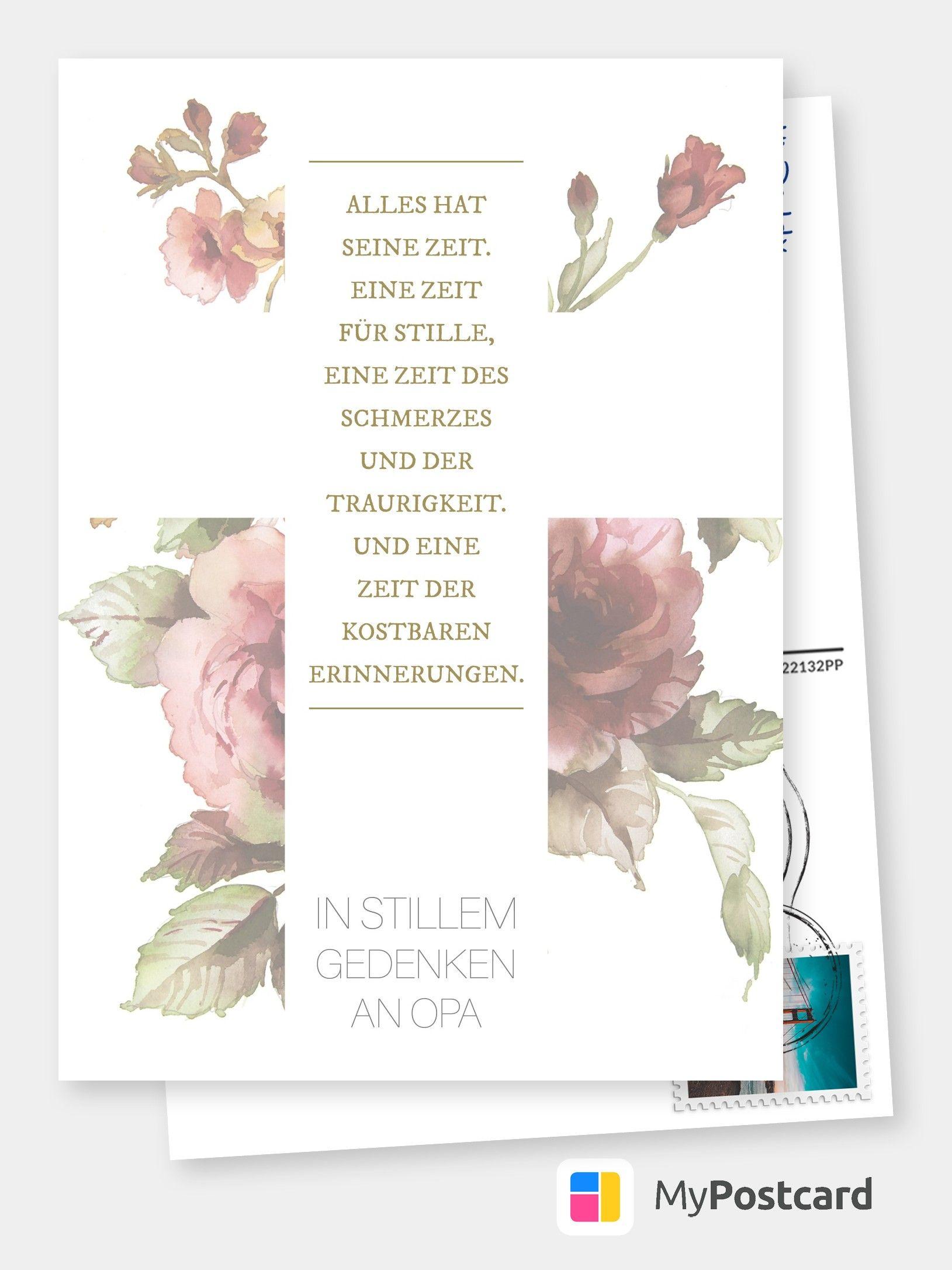 Gedenken an Opa   Trauerkarten 😔💌   Echte Postkarten online ...