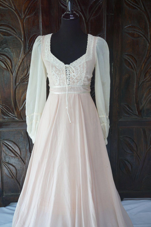 vintage ivory pink gunne sax jessica mcclintock dress