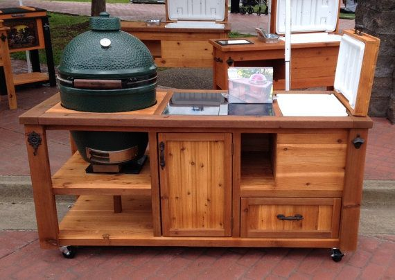 Grill U0026 Chill Table W Magnetic Cap Catcher   Big Green Egg, Kamado Joe,  Primo   Charcoal Cabinet, Grill Tools Drawer, Granite Prep Optional