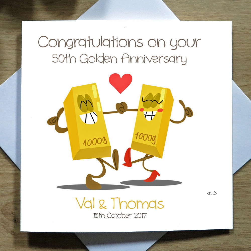 Personalised Handmade 50th Gold Wedding Anniversary Card Fiftieth Funny 50th Anniversary Cards Anniversary Cards Funny 50th Anniversary