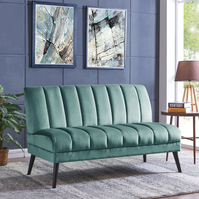 Cheap Furniture Store Online: Carson Carrington Abytorp Turquoise Blue Velvet Armless