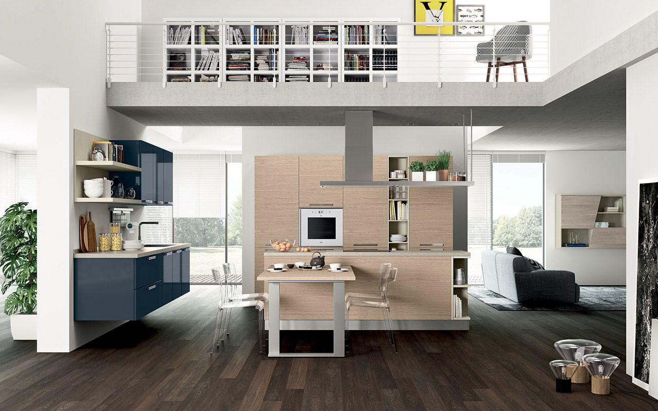 Cucina moderna su due lati con isola - Composizione 0466 | CUCINE ...