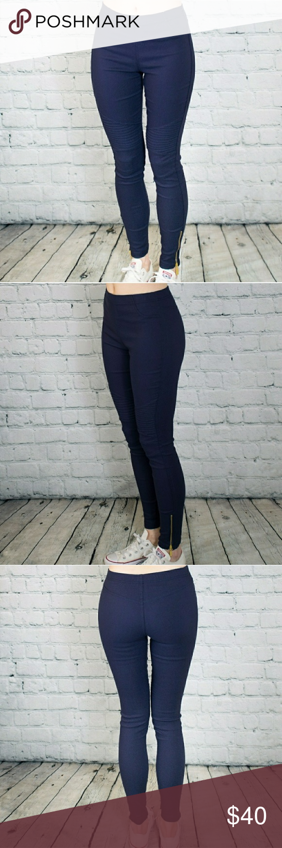 bf68eb0bb03af Plus Size Navy Blue Moto Jeggings Plus size moto pants in navy blue. These  are