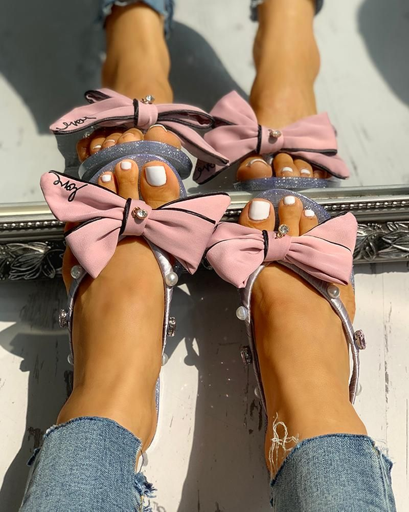 Bowknot Design Flip Flops Flat Sandals Bowknot Design Flip Flops Flat Sandals Free Shipping  30 days Easy Return