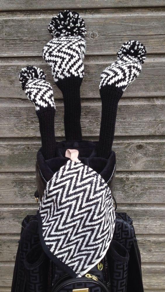 Knitted Golf Club Covers Cream & Black Driver Wood & Hybrid | eBay ...
